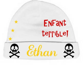 Personalized with name White bad boy baby bonnet