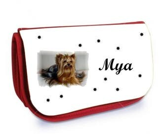 Cosmetic case red /crayons Yorkshire personalized with name
