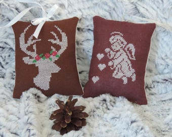 Door, embroidered pillows, Christmas decoration, Christmas tree decor. Angel and Christmas reindeer. Hand made