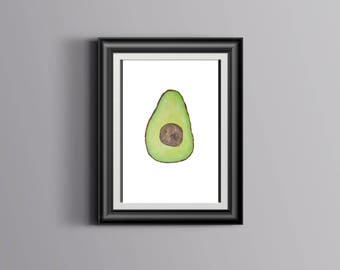 Avocado Acrylic Painting Print
