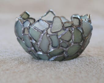 Small Rounded Top Sea Glass Bowl / Candle Holder