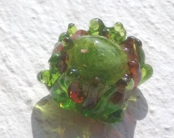 A rose - Peony green gilded glass Lampwork
