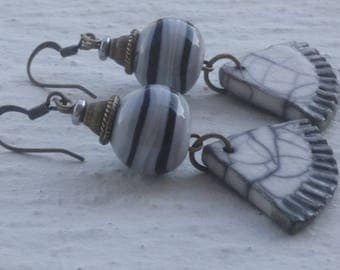 Earrings: Gray - ivory and black - filled and ceramic glass