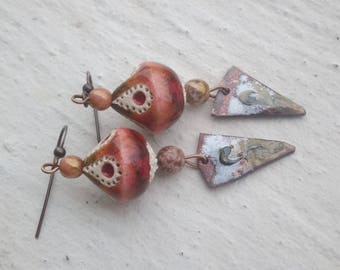 Earrings arrows and artistic ceramic multicoloris