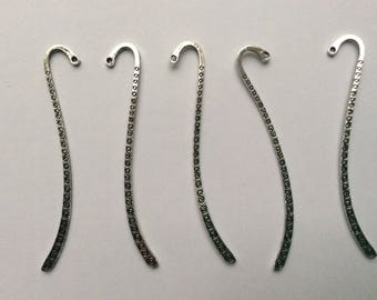 Set of 5 bookmarks silver-plated length 9 cm or 13 cm with patterns