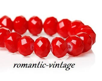Red patent Crystal electroplates faceted 8mm 20 beads