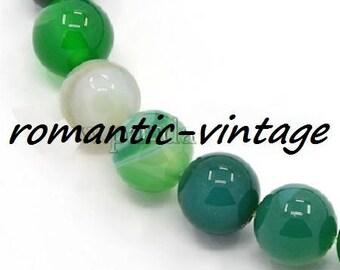 "Agate ""seagreen"": 20 natural pearls, semi precious 6 mm"