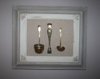 Weathered old wood frame and utensils for tea