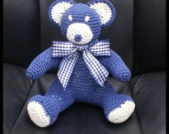 Navy Blue and ecru crochet Teddy bear