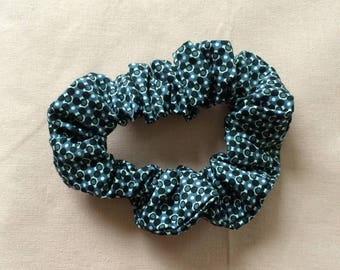 fabric Black/Blue Navy and white elastic hair tie