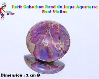Round cabochon of Jasper Aquaterra purple Violinede 7 mm thickness 2 cm