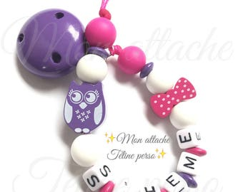 """personalized pacifier ~ OWL model silicone """"Sihème"""""""
