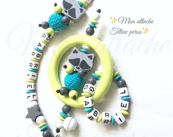 """Personalized rattle and pacifier clip duo ~ model raccoon """"Gabriel"""""""
