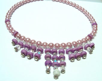 the Choker necklace pink and purple beads