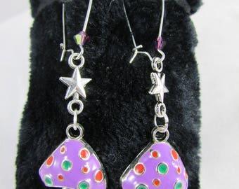 """Earrings in Silver """"Mushroom purple"""""""