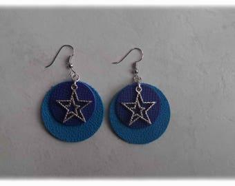 Leather earrings - star earrings blue/charm