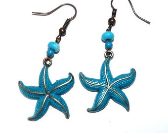 Starfish earrings blue jewelry on etsy souvenir Beach summer vacation summer jewelry