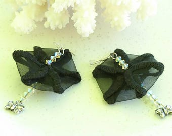 """Earrings """"The greenhouse Butterfly"""" Black Lace, Swarovski Crystal, charms and 925 sterling silver mounts."""