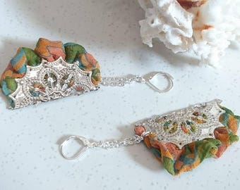 "Earrings ""Tour De Nellore"" silk sari recycled, silver filigree pieces, chains and findings nickel free."