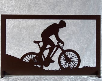 Cyclist bike - silhouette cut and painted wooden frame