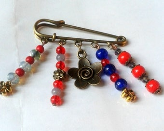 Bohemian brooch or jewelry bag, blue, red and gray
