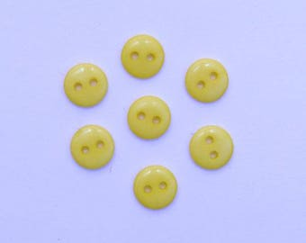 Set of 20 mini buttons 2 holes - 001936 yellow 9mm