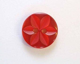 Button star 11 mm x 50 red 2 hole - 001612