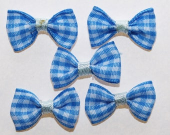 20 x gingham Plaid ribbon bow: Blue - 2372