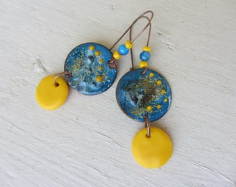dangling copper sequin enamelled, gemstone and polymer clay bright yellow and blue