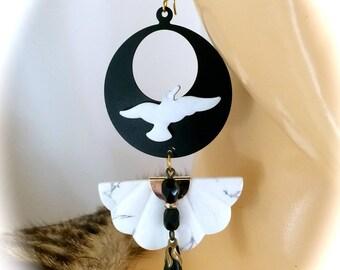 Earrings in black and white art deco Designer