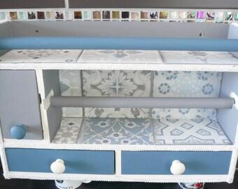 Concrete blue, grey and white checked kitchen dispenser