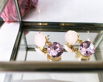 Earrings in rosé and pink: sparkling crystals