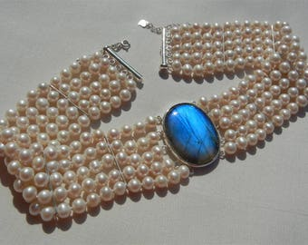Custom Choker necklace 5 rows cultured fresh water pearls