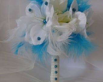 round bridal bouquet turquoise feathers