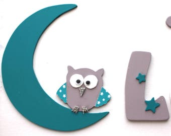 wood decals OWL on Moon with his star for embellishment name