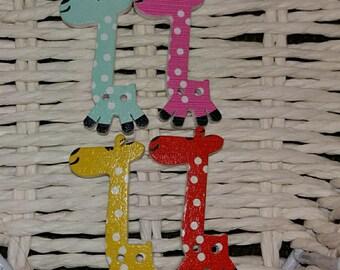 set of 4 giraffe buttons original embellishment