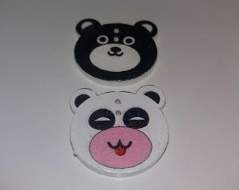 fun set of 2 bears buttons wooden