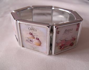 LIQUIDATION elastic silver bracelet cabochon cupcakes and coffee