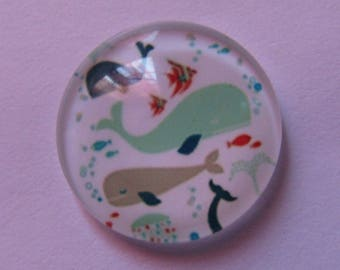 1cabochon glass 20mm fish theme