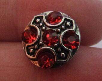 snap 12mm red rhinestone metal