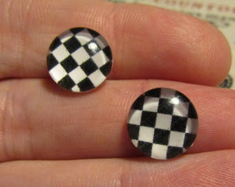 2 cabochons glass 12mm black and white theme
