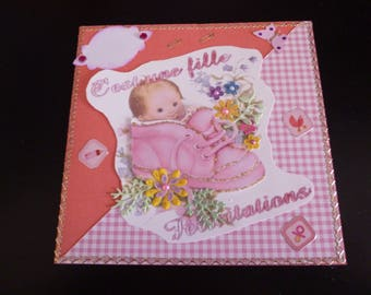 baby girl in shoe card