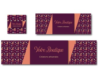 Burgundy flowers Etsy and Facebook shop banner orange and yellow