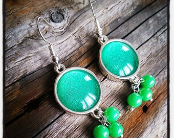 Earrings dangle silver iridescent green cabochon