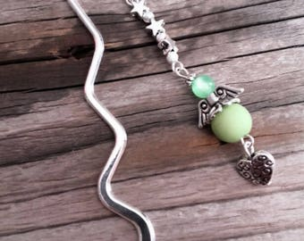 Silver charm bookmark Angel and green beads