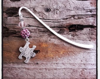 puzzle charm silver bookmark pink