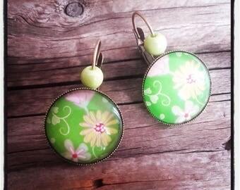 Earrings bronzes cabochon flowers