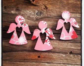 Pink set of 3 wooden Angels