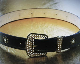 Women belt man rhinestone gala country line dance custom leather