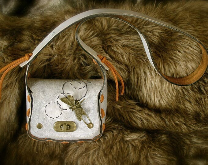 Mini clutch bag purse kids leather embroidered Dragonfly over water